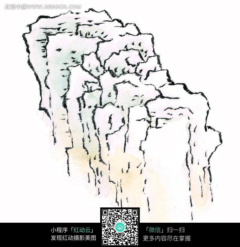山石马克笔手绘