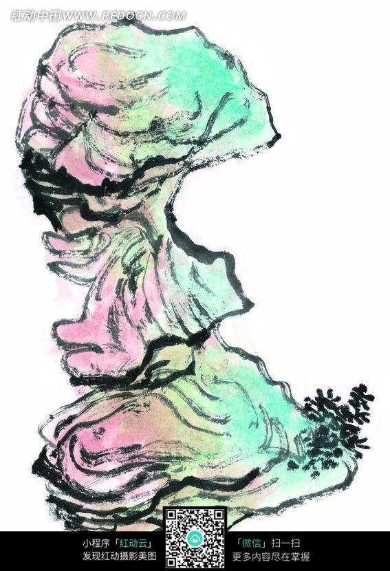 手绘嶙峋的石头素材图片