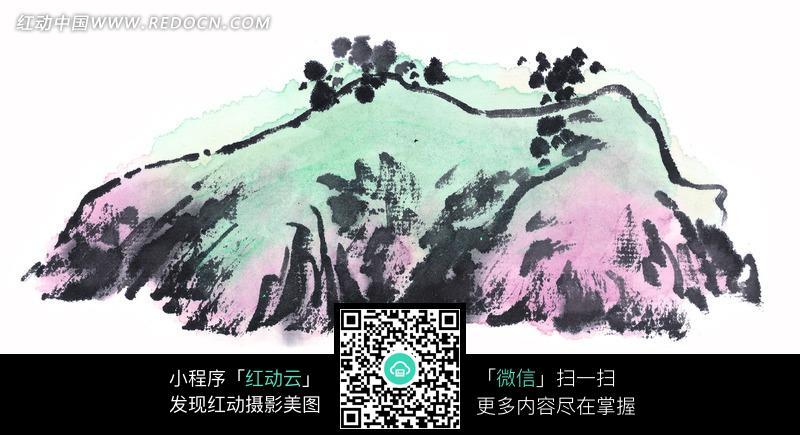 手绘双峰山景图片