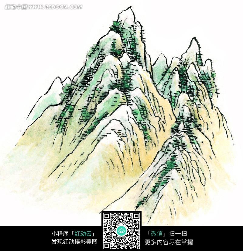 高山绿树风景画图片