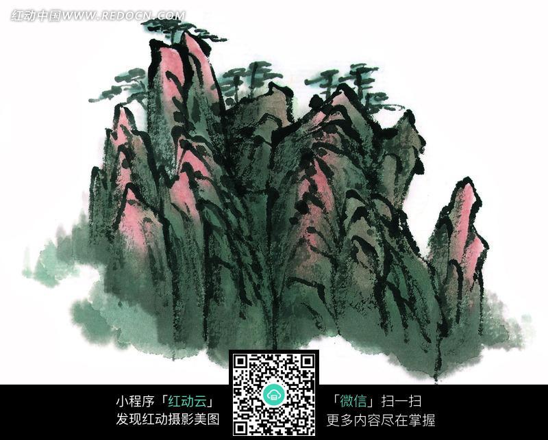 高山松树风景画