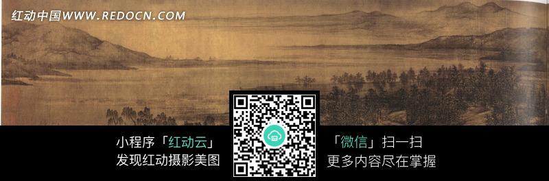 中国古画夏景山口待渡图图片