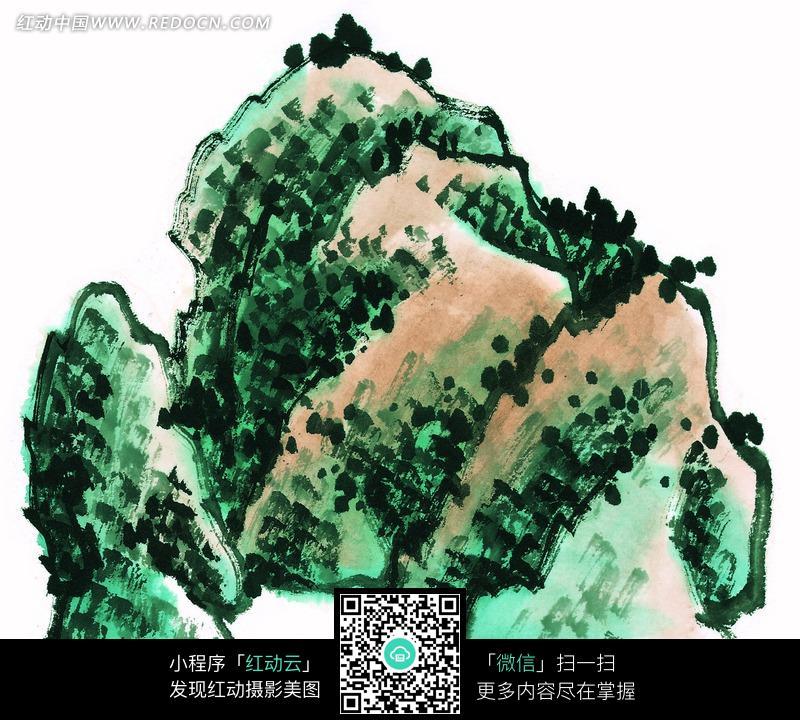 手绘绿树石山