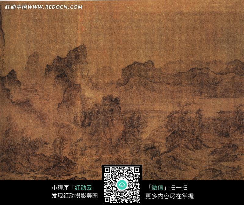中国古画山水画江山楼观图图片图片