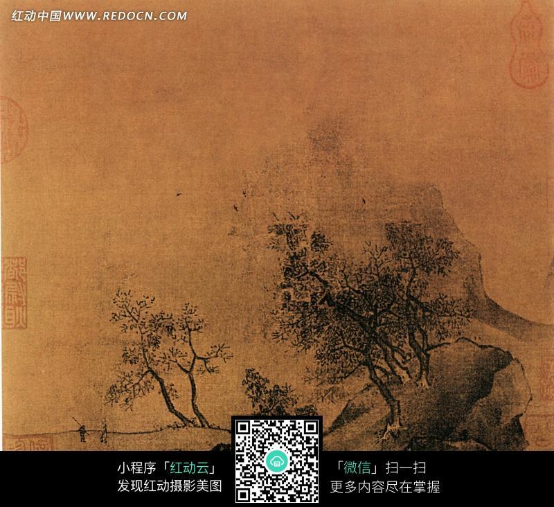 中国古画秋山烟霭图图片图片