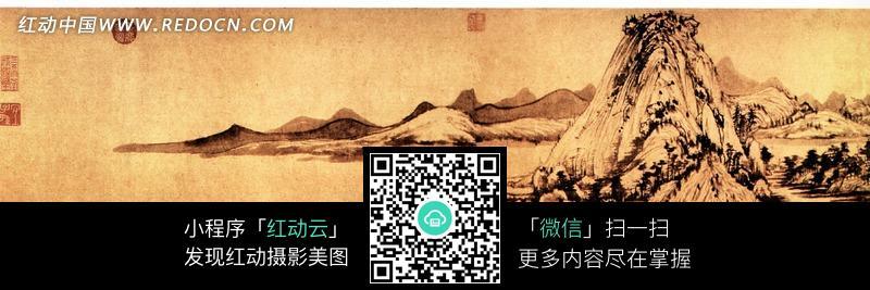 富春山居图 树木 山 山水画 风景画 摄影图片 jpg 水墨画  中国画