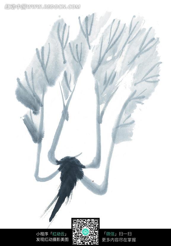 手绘水墨画植物插画
