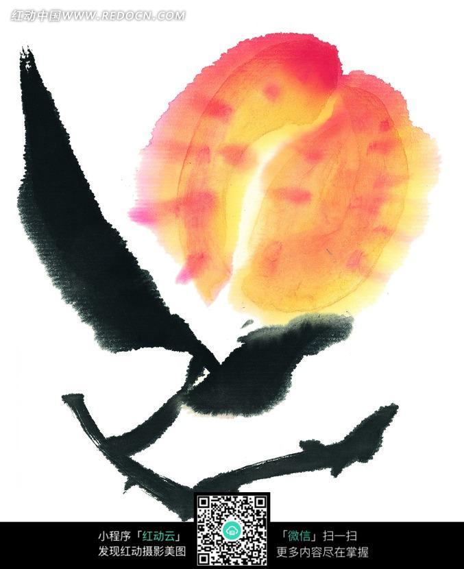 免费素材 图片素材 背景花边 花纹花边 手绘水墨画植物桃子插画