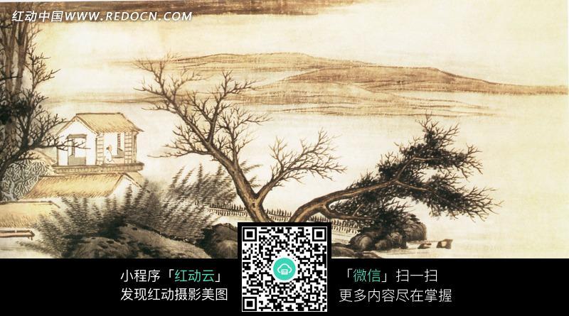 江面 茅草屋 古树 岩石 石头 水墨画 艺术 书画