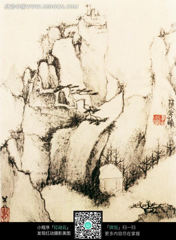 岩石 树木 石头 古代房屋 水墨画 艺术 书画