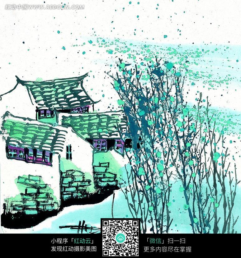 水墨画—落叶飘飞的树木和小屋图片