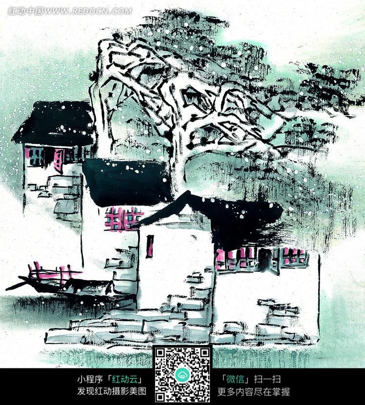水墨画—树枝弯曲的树木后的小屋