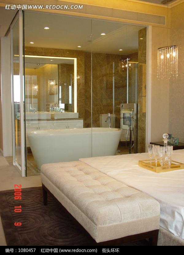 免费素材 图片素材 环境居住 室内设计 现代时尚的卧室和浴室组合  请图片