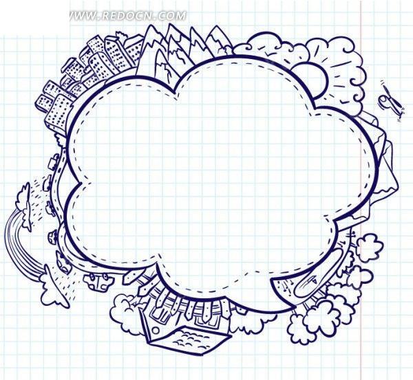 手绘卡通花边EPS素材免费下载 编号1072555 红动网图片
