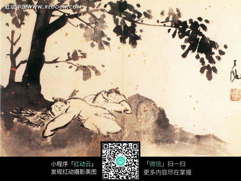 手绘树下的小孩水墨画插画图片