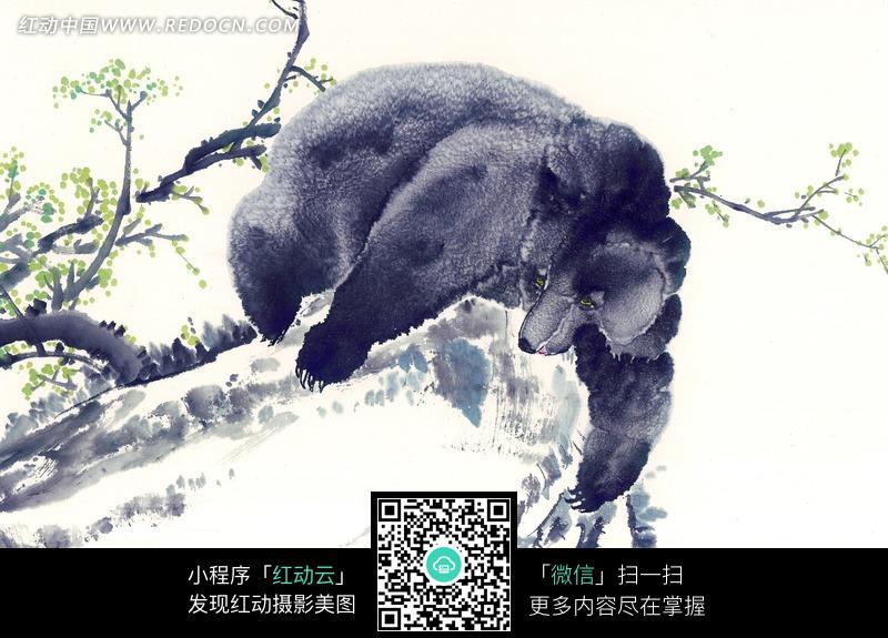 手伸到石头下的熊水墨画图片
