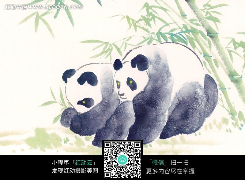 靠在一起的熊猫水墨画图片图片