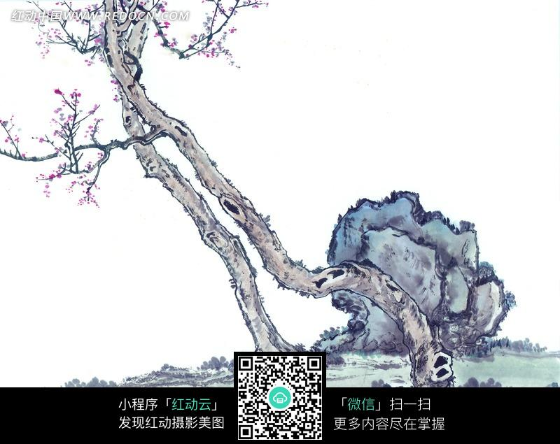 水墨画—长在青色石头边的树木
