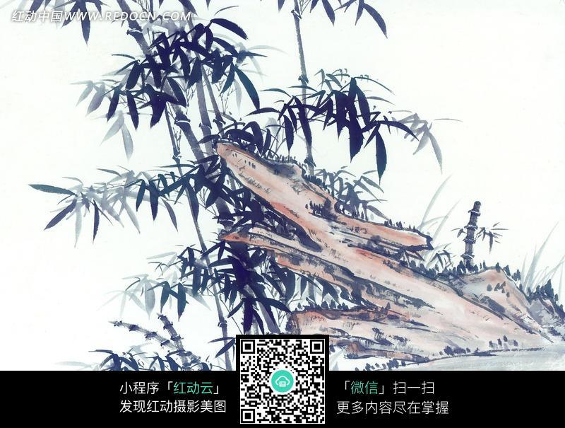 岩石边上的竹子水墨画图片