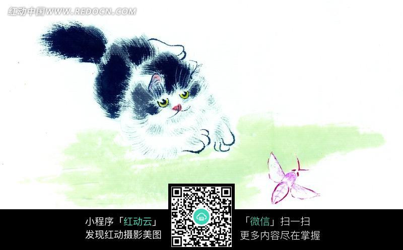 扑蝴蝶的猫咪水墨画 书画 中国风 动物 艺术 图片素材