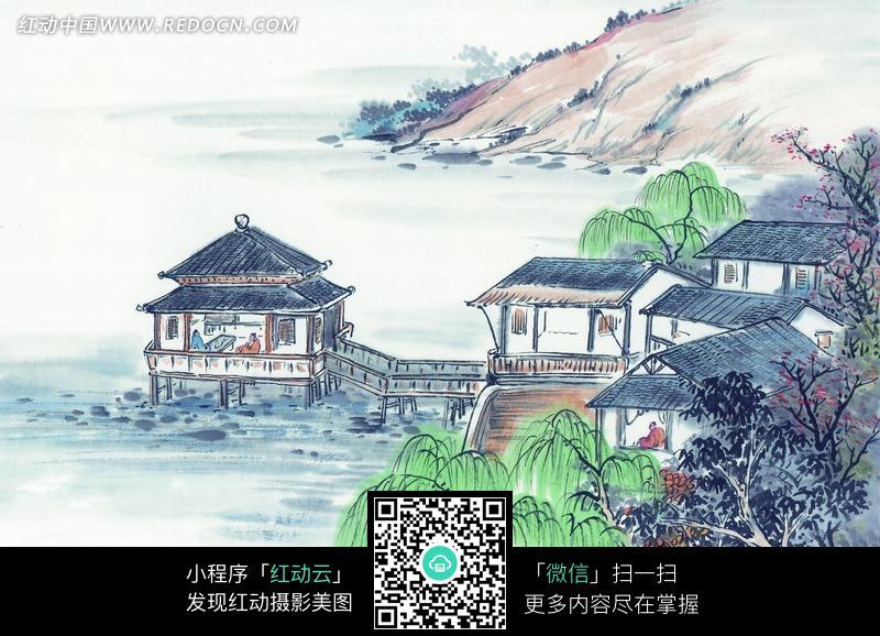 山中房屋风景画