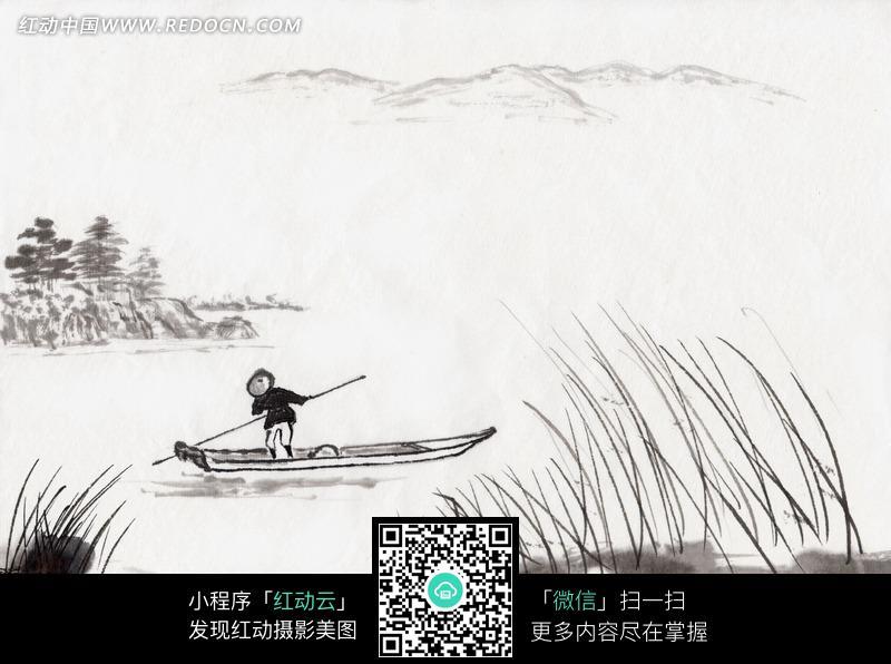 水墨画—平静的水面上划船的人图片免费下载_红动网