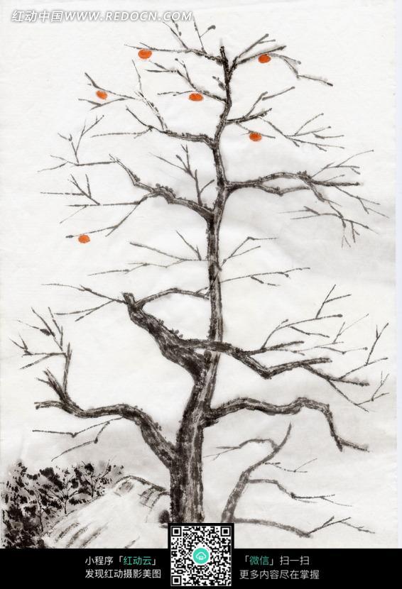 画 茅草屋边的树叶稀疏的树木图片