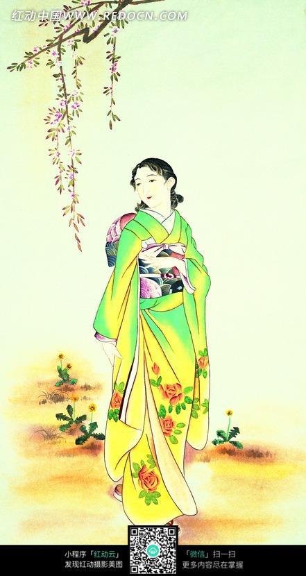 手绘身穿和服的女士插画图片
