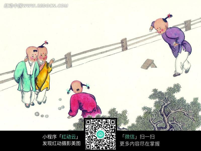 古代小孩玩耍手绘插画图片_书画文字图片