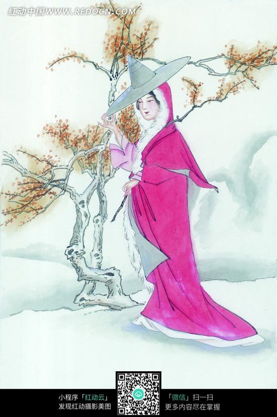 树边带着斗笠的古代女子图片