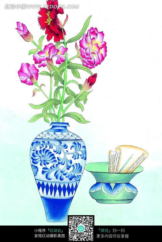 工笔画 青花瓷花瓶里花朵和坛子里的纸图片