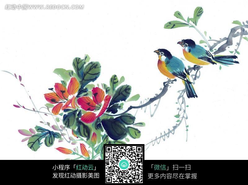文字 花枝/停立在花枝上的两只小鸟图片