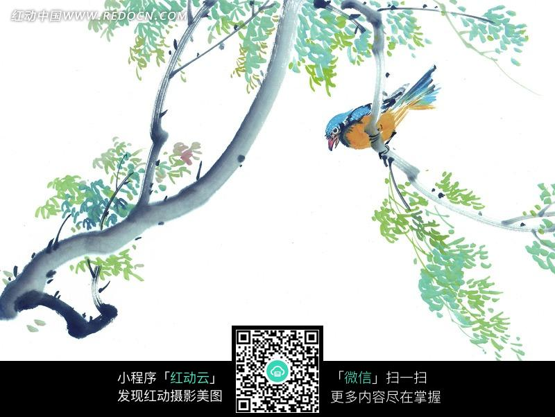 树枝上的小鸟工笔画图片