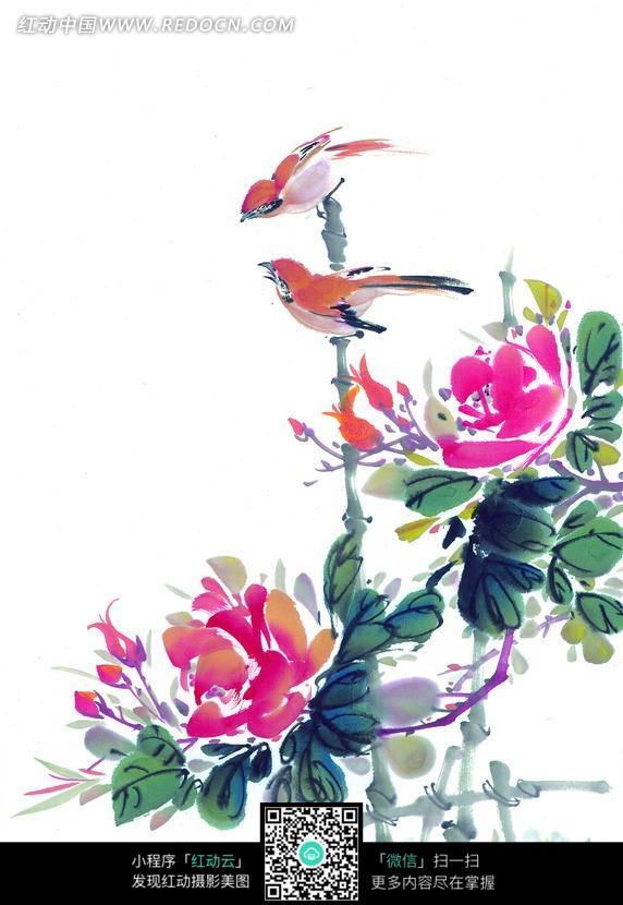 柭头上的两只鸟儿工笔画图片