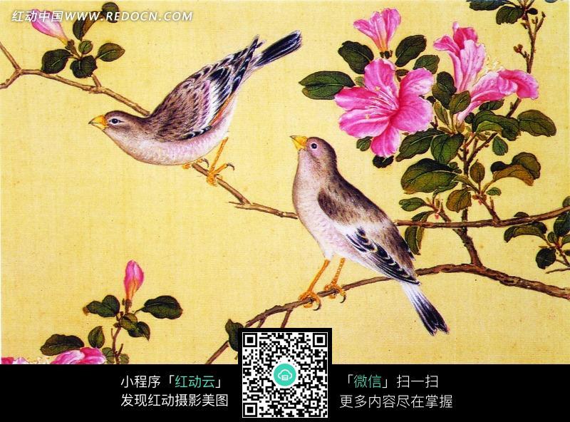 站在梅花枝头的喜鹊矢量素材图