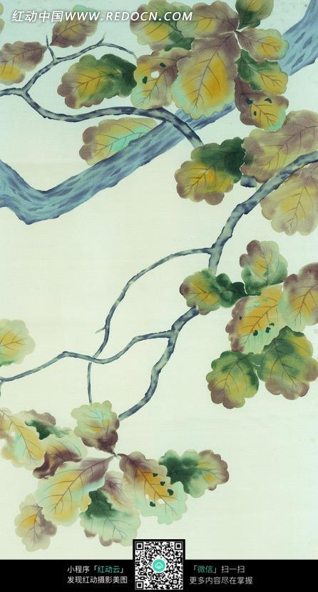 手绘彩色树林树叶水彩画