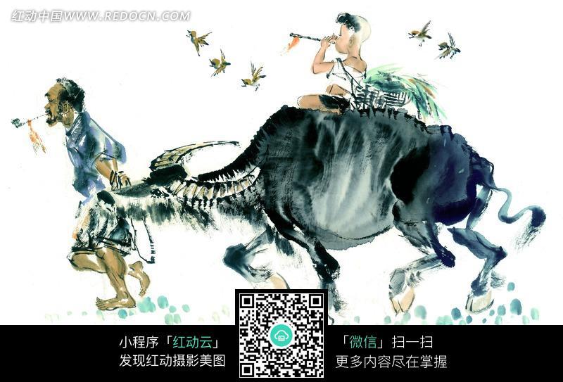牛 动物 牛背 牧童 小鸟 写意画 国画 摄影图片 jpg 中国画 水墨画