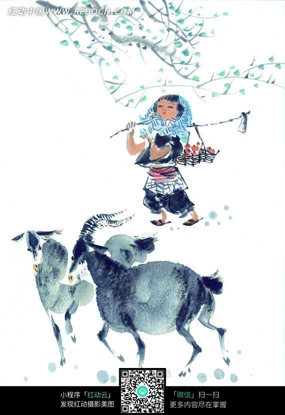 放羊的小女孩写意画图片