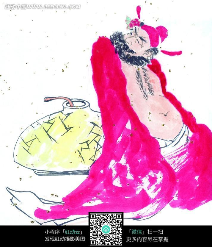 水墨画—坐着的红衣古代男子