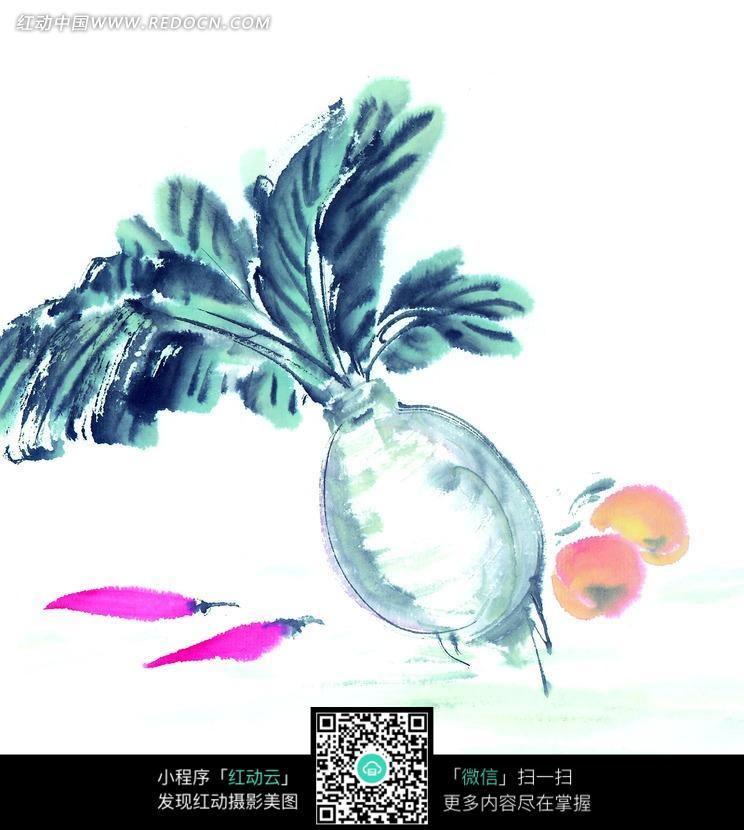 白萝卜与西红柿辣椒写意画图片图片