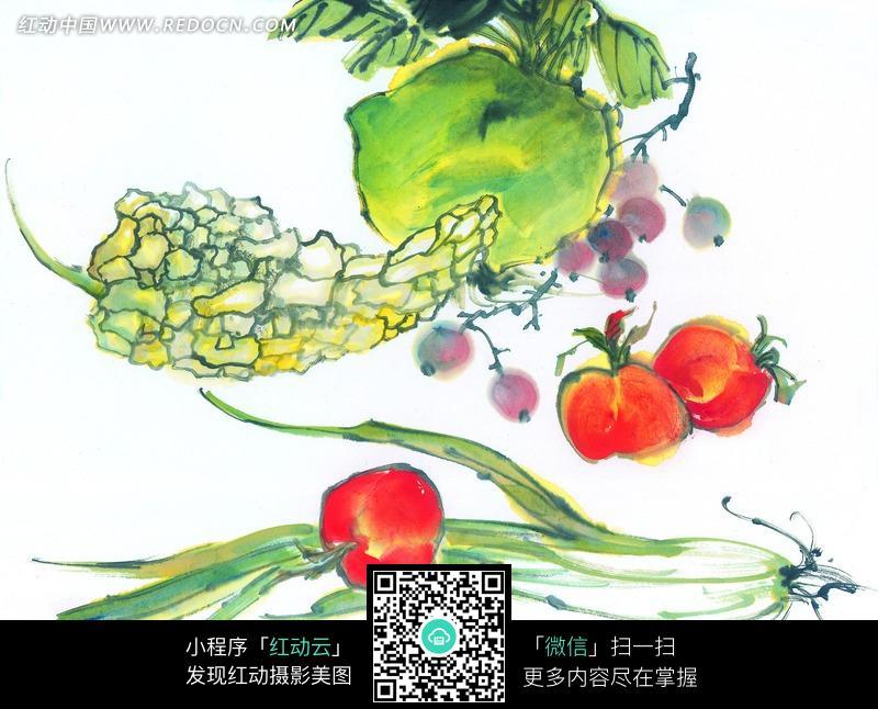 葡萄 西红柿 葱苗 水果 蔬菜 写意画 国画 摄影图片 jpg 中国画 水墨