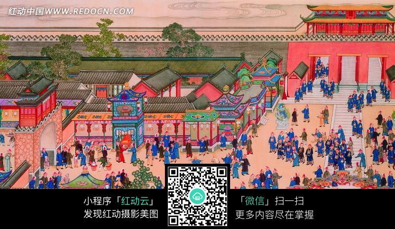 古代宫殿城门前聚集的清朝官员图片图片