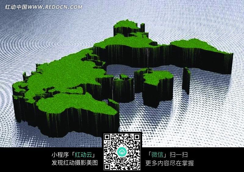 绿色立体地图