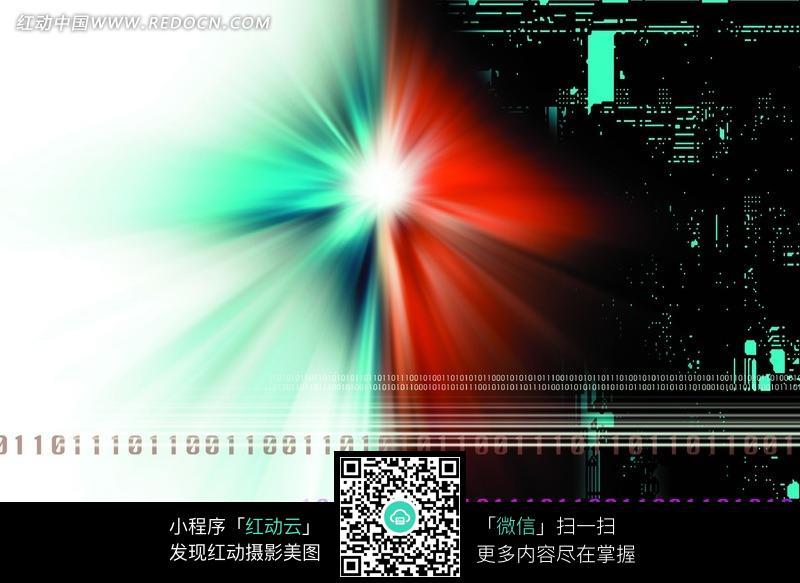 抽象电路板上发散彩光图片