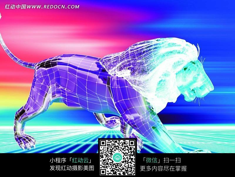 手绘三维数码狮子_数码背景图片