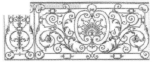 欧式镂空花纹隔断窗格设计模板矢量图