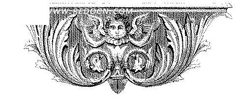 欧式天使头像卷草雕花古典图案矢量素材