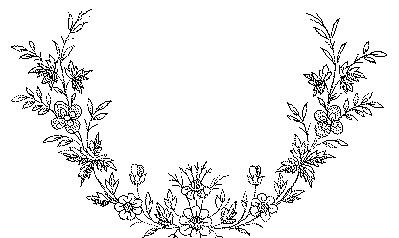 树叶花边边框简笔画-图案花与花蕾叶子矢量素材矢量图