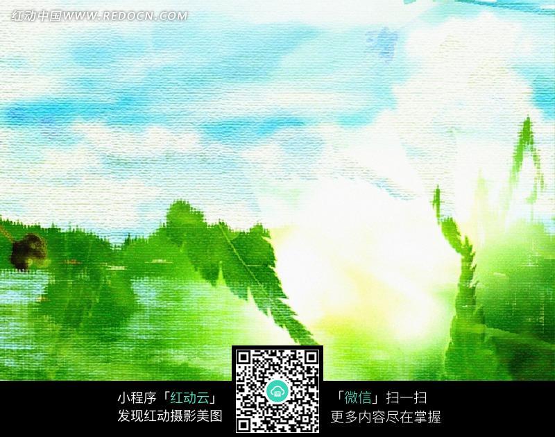 蓝天白云 绿树 水彩画 绘画 艺术