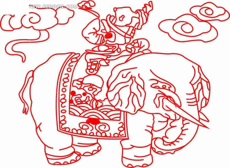 大象剪纸步骤如下